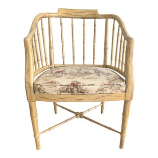 Baker Style Chinoiserie Chippendale Faux Bamboo Desk Chair For Sale