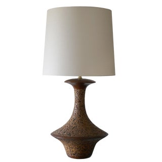 1960s Spun Walnut and Cork Table Lamp With Shade For Sale