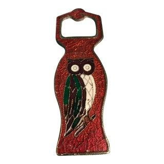 Vintage Greek Bronze & Enamel Owl Bottle Opener