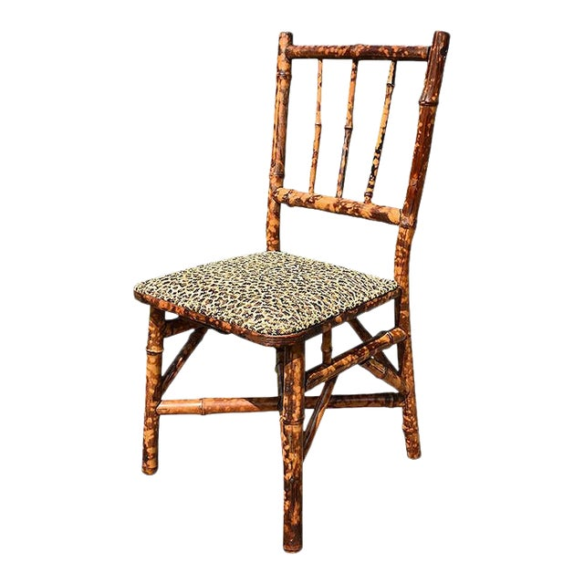 Chinoiserie Small English Children's Burnt Tortoise Bamboo Upholstered Leopard Print Chair For Sale
