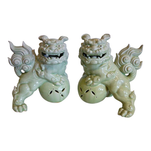 Celadon Japanese Foo Dogs - a Pair For Sale