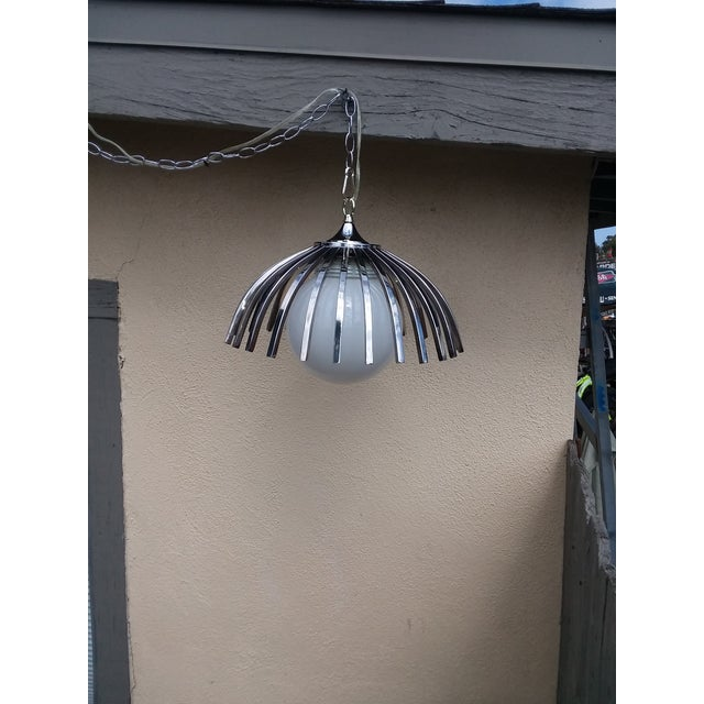 Custom Mid-Century Pendant Available With Large Globe (As Seen or Smaller Globe For Sale - Image 9 of 9