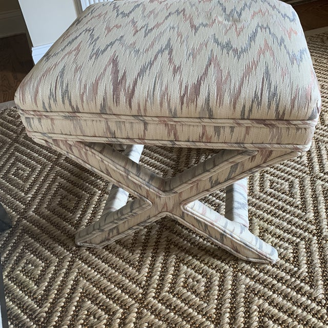 Vintage Weiman Upholstered X Bench For Sale - Image 10 of 13