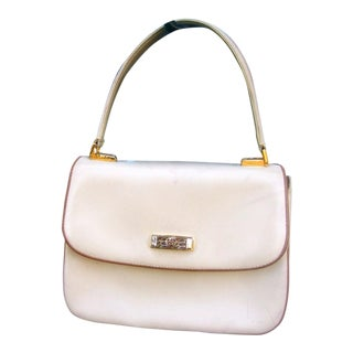 Gucci Italian Ivory Leather Handbag C 1970s For Sale