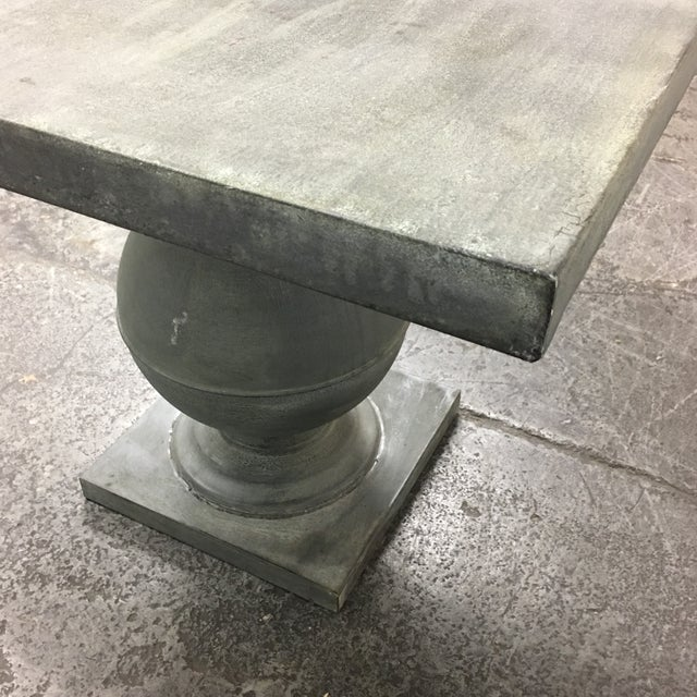 Zinc Square Top Ball Base Pedestal Table For Sale - Image 11 of 11