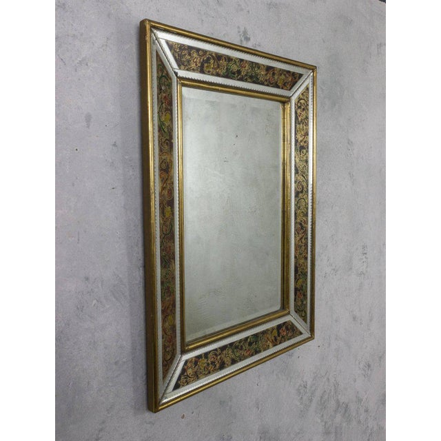 1940s French, 1940s Reverse Painted Mirror For Sale - Image 5 of 11