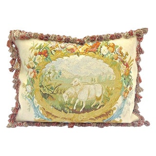 Antique Goats Floral Aubusson Pillow For Sale