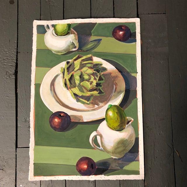 1980s Vintage Original Gouache Still Life Painting With Artichoke & Fruit For Sale - Image 5 of 5
