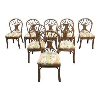 Set of 8 1980s Italian Vintage Bamboo Dining Chairs For Sale