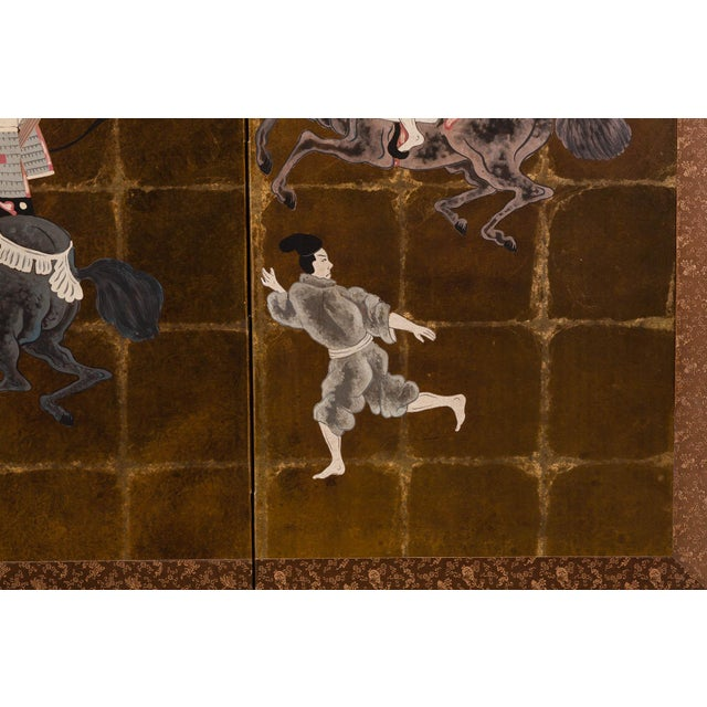 The magnificent hand-painted 4-panel screen shows a classic Japanese-style scene of Samurais in a dressed parade on...