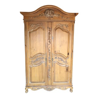 French Country Ethan Allen Legacy Carved Armoire For Sale