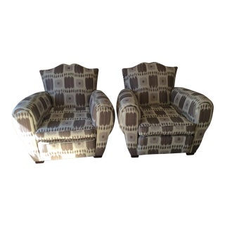 French Upholstered Club Chairs, 1940s - A Pair