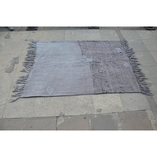 "Turkish Tribal Hemp Rug - 50"" x 67"" For Sale - Image 4 of 7"