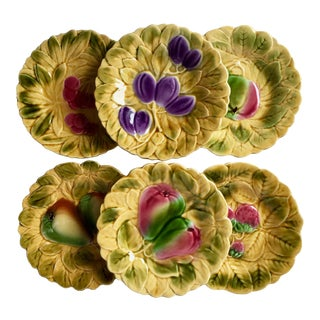 6 French Sarreguemines Majolica Fruit Plates For Sale