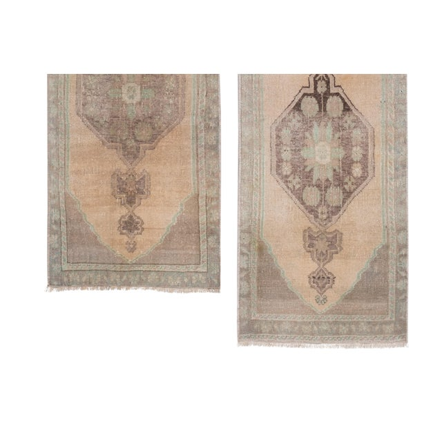 """Distressed Small Turkish Oushak Rug - a Pair 19"""" X 42"""" For Sale - Image 4 of 10"""