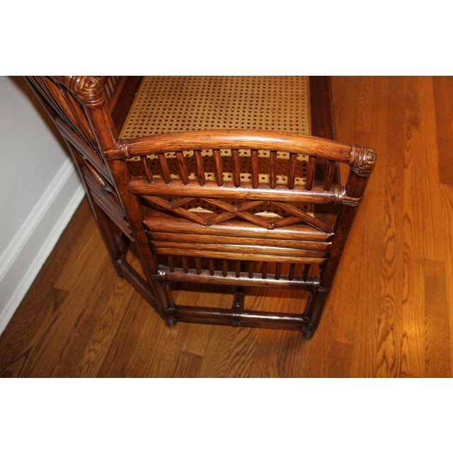 Vintage Mid Century Bamboo Rattan Pavilion Brighton Chinoiserie Chippendale Settee For Sale In Cincinnati - Image 6 of 13