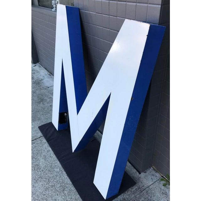 "Mid-Century Modern Large Vintage Blue & White Enamel ""M"" Building Signage For Sale - Image 3 of 12"