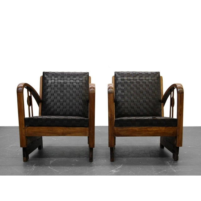 Pair of Antique French Art Deco Bentwood Lounge Chairs with Woven Leather For Sale - Image 5 of 8