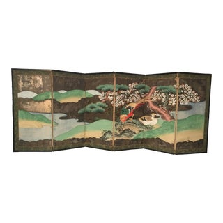 19th Century Antique Japanese Cano School Hand Painted Screen For Sale