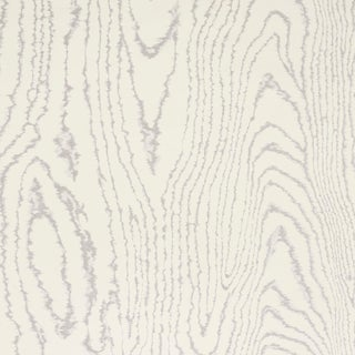Schumacher Faux Bois Wallpaper in Silver Moon