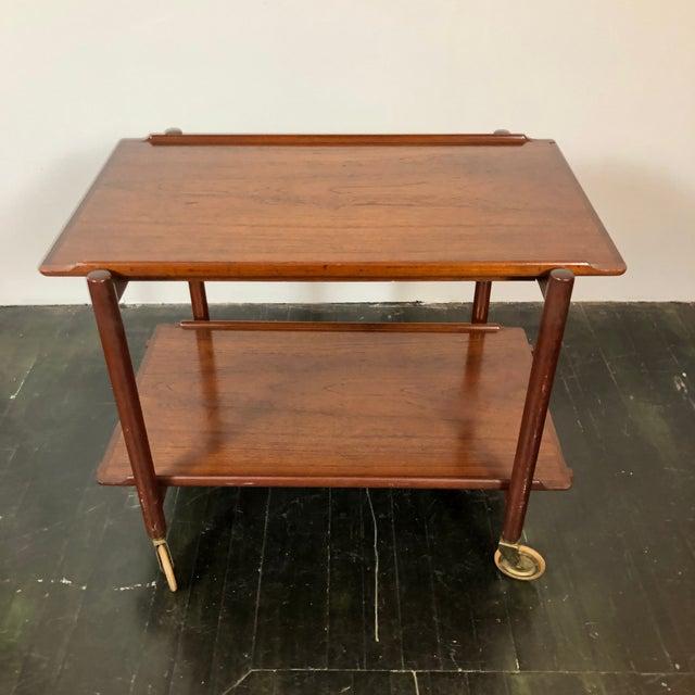 Mid-Century Modern 1960s Danish Teak Expanding Server/Bar Cart For Sale - Image 3 of 13