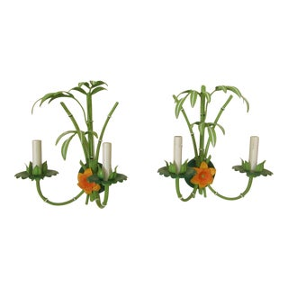 Colorful Faux Bamboo Metal Wall Sconces - a Pair