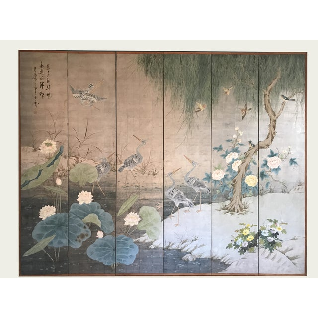 Silver Chinoiserie 6 Panel Folding Screen, Silver Leaf and Hand Painted With Spring Imagery of Birds, Lotus, Willow For Sale - Image 8 of 10