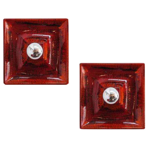 Red Ceramic Wall Sconces - A Pair For Sale