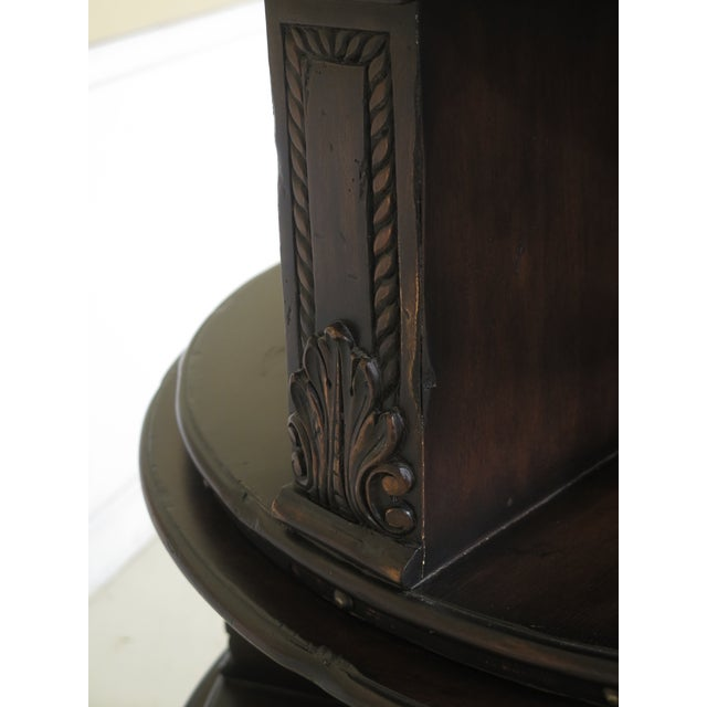 Traditional Maitland Smith Carved Mahogany Revolving Bookcase For Sale - Image 3 of 10