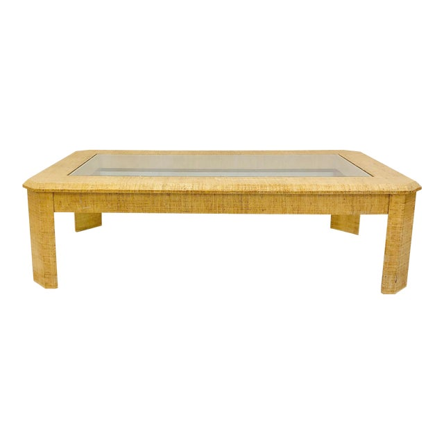 Vintage Grasscloth Wrapped Coffee Table For Sale