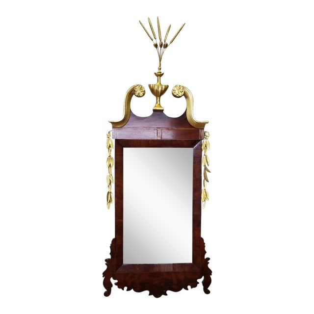 1810 Antique American Late Federal Period Mahogany & Gilt Hanging Looking Glass Mirror For Sale