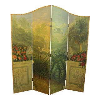 1940s Hand Painted Folding Screen For Sale