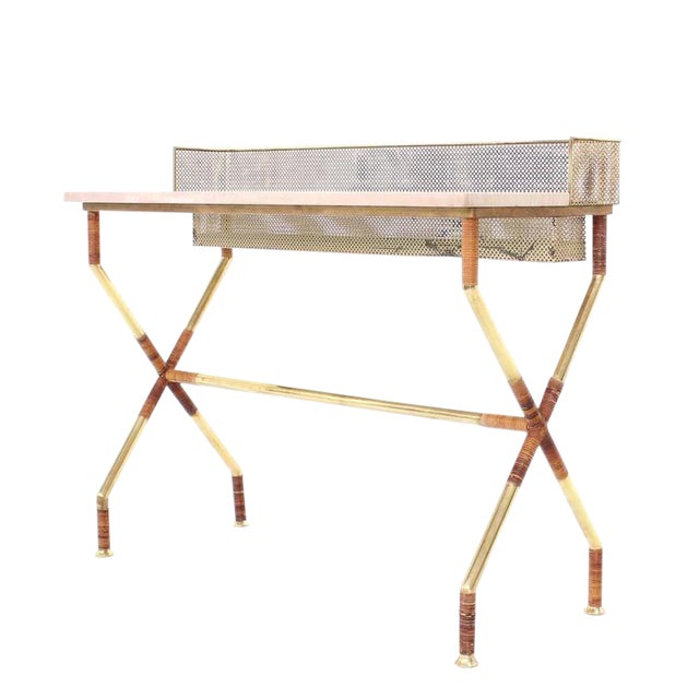 Rare X-Base Brass and Marble-Top Console Table with Planter For Sale