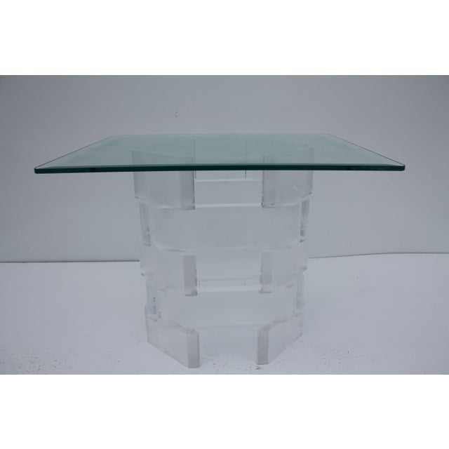 Sculptural Stacked Lucite & Glass Top Side Table - Image 9 of 10