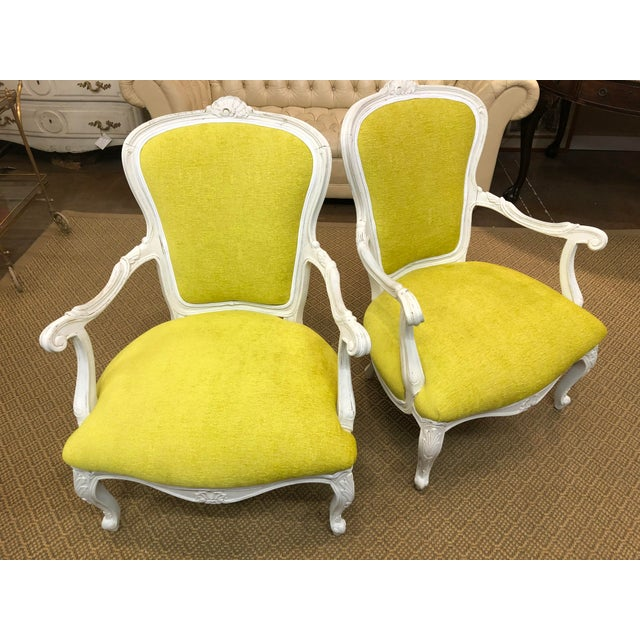 Yellow Vintage French Style Chairs- A Pair For Sale - Image 8 of 8