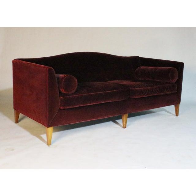 Baker Archetype Model #2386-80 Red Merlot Mohair Sofa For Sale In Chicago - Image 6 of 11