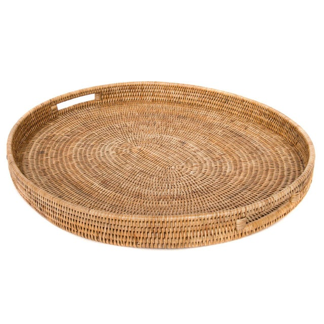 Boho Chic Artifacts Rattan Oval Tray For Sale - Image 3 of 4