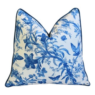 "Blue & White P. Kaufmann Aviary Bird Toile Feather/Down Pillow 24"" Square For Sale"