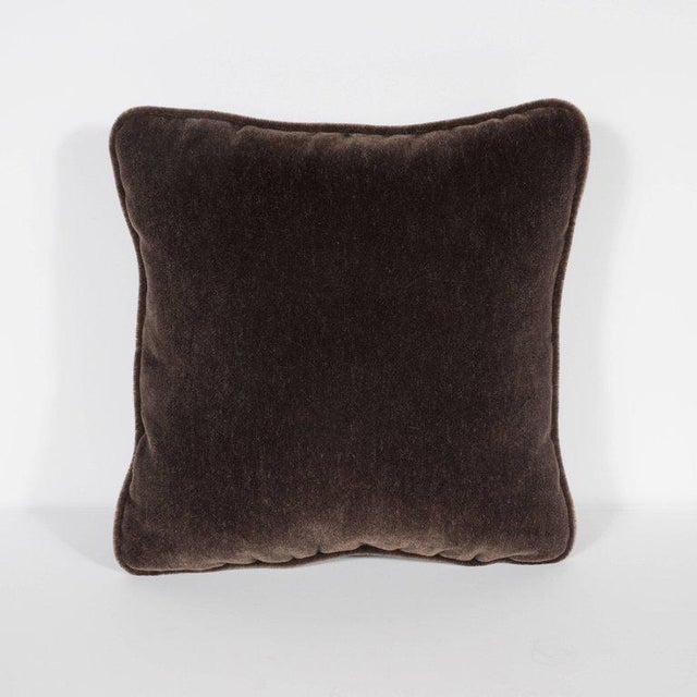 Gorgeous Pair of Square Custom Handmade Pillows in Chestnut Mohair with Piping For Sale - Image 4 of 6