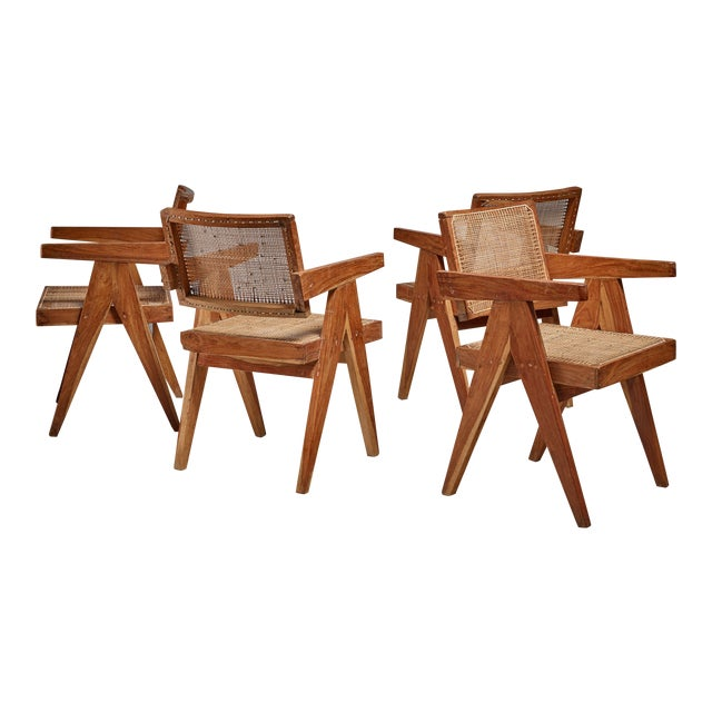 Pierre Jeanneret Chandigarh set of four High Court V-leg chairs, 1950s For Sale