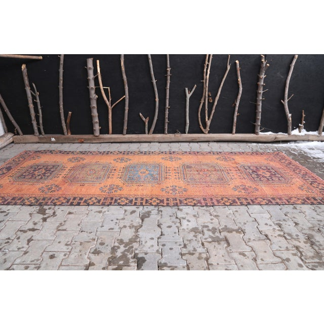 """Boho Chic 1960's Vintage Turkish Hand-Knotted Wide Runner Rug - 4'1"""" X 11'5"""" For Sale - Image 3 of 11"""