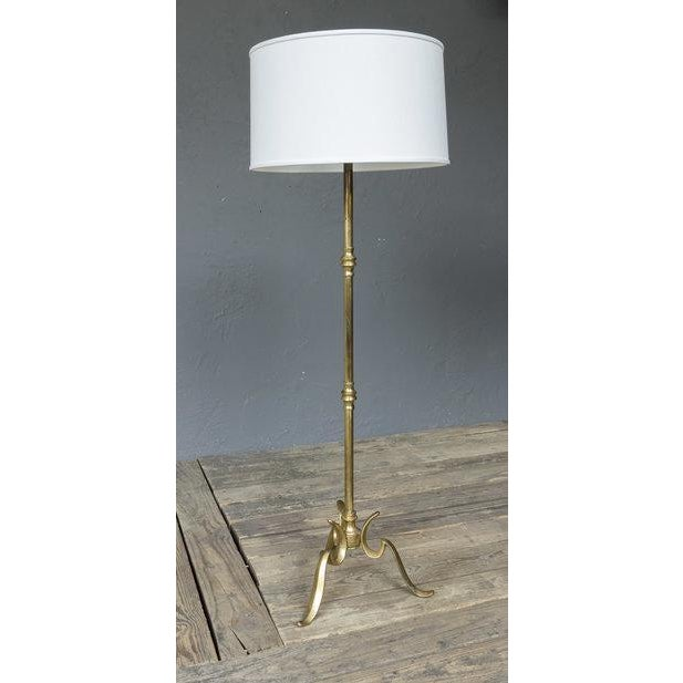 Metal Brass Floor Lamp With a Cast Tripod Base For Sale - Image 7 of 7