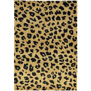 "Contemporary Hand Woven Leopard Print Rug - 4'2"" x 6'2"""