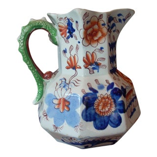 1900s Cottage Gaudy Welsh Pitcher For Sale