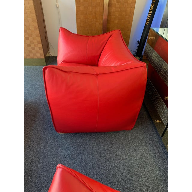 Mid-Century Modern 1970s Le Bambole Armchairs Red Leather by Mario Bellini for B&b Italia For Sale - Image 3 of 13