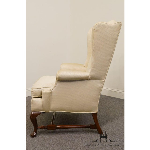 Traditional Hickory Chair Upholstered Mahogany Wing Back Chair For Sale - Image 3 of 9