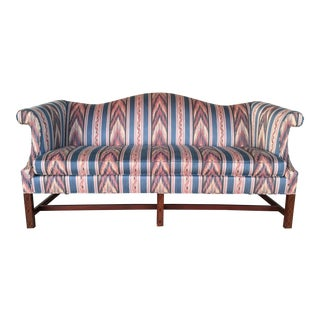 Hickory Chair Flame Stitch Chippendale Style Camel Back Sofa