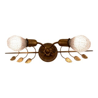 Sherle Wagner Crystal Leaf Top Sconce Light With Edison Bulb Covers For Sale