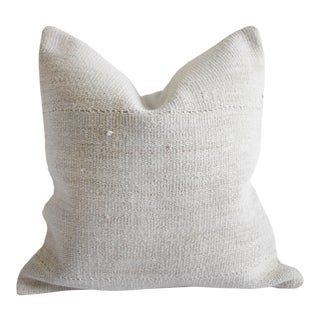Vintage Nubby White Hand Woven Minimalist Style Pillow For Sale