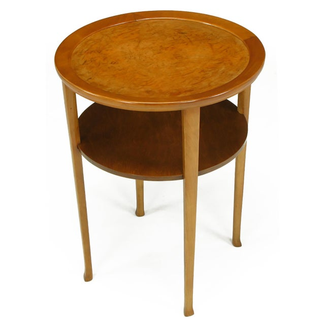 Mid-Century Modern 1940s Round Two-Tier Maple Side Table With Buffalo Leather Inlay For Sale - Image 3 of 9